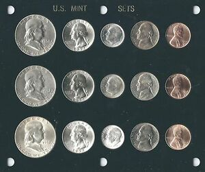 1952 P D S US MINT SET 15 COINS  BRILLIANT UNCIRCULATED IN BLACK CAPITAL HOLDER