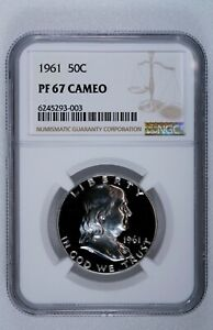 1961 FRANKLIN HALF DOLLAR PROOF 50C NGC CERTIFIED PF 67 CAMEO STUNNING COIN