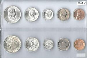 1951 D US SILVER MINT SET   5 CHOICE BU COINS IN WHITMAN PLASTIC HOLDER