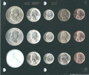 1948 P D S US MINT SET 14 COINS  BRILLIANT UNCIRCULATED IN BLACK CAPITAL HOLDER