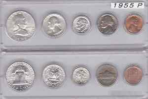 1955 P US SILVER MINT SET IN WHITMAN PLASTIC HOLDER