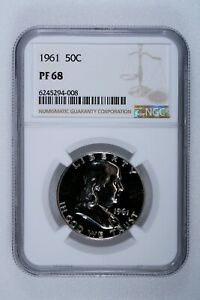 1961 FRANKLIN HALF DOLLAR PROOF NGC PF68    NEAR PERFECT  CERTIFIED 50C COIN