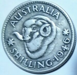 1946 AUSTRALIAN SILVER SHILLING KING GEORGE VL COIN CIRCULATED