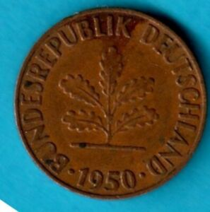 1950 FIRST YEAR KEY DATE WEST GERMANY POST WW2 1 PFENNIG FEDERAL REPUBLIC