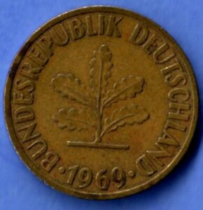 10 PFENNIG 1960 WEST GERMANY REPUBLIC COIN OAK SEEDLING