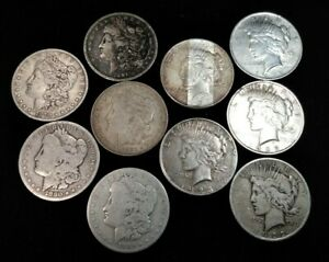 LOT OF 10 FIVE MORGAN SILVER DOLLARS FIVE PEACE SILVER DOLLARS WITH DAMAGE