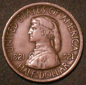 1921 MISSOURI CENTENNIAL COMMEMORATIVE HALF DOLLAR.