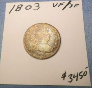 1803 DRAPED DIME VF   XF    OLD CLEANING AMAZING TONING