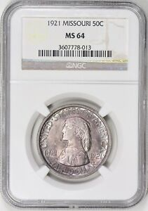 1921 MISSOURI CENTENNIAL SILVER HALF DOLLAR NGC MS 64 PURPLE TONED