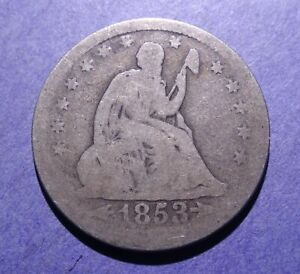 1853 W/ARROWS AND RAYS SEATED LIBERTY QUARTER AG