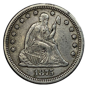 1875 US 25C SEATED LIBERTY SILVER QUARTER XF DETAILS