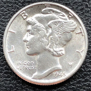 1945 MERCURY DIME 10C HIGH GRADE UNC 31417