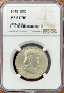 1948 FRANKLIN HALF DOLLAR NGC MS67FBL TOUGH COIN