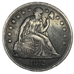 1872 W/M $1 SEATED LIBERTY DOLLAR VF