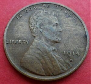 1914 D LINCOLN WHEAT CENT EXTRA FINE XF