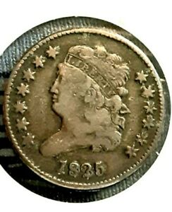 1825 CLASSIC HEAD HALF CENT HIGH GRADE  LOW 63000 MINTED  TYPE COIN