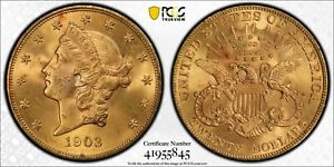 1903 $20 LIBERTY HEAD TWENTY DOLLAR DOUBLE EAGLE PCGS MS 65 WITTER COIN