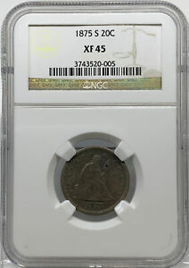 1875 S  20C  NGC  XF45   SEATED LIBERTY 20 CENT PIECE
