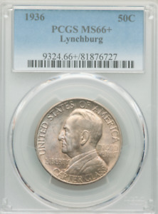Click now to see the BUY IT NOW Price! 1936 LYNCHBURG HALF PCGS MS66  IMMACULATE HINTS OF LUSTROUS AMBER & STEEL BLUE