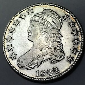 1822 CAPPED BUST HALF DOLLAR 50C   XF / AU DETAILS    DATE COIN