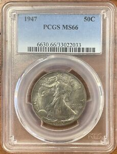 1947 WALKING LIBERTY HALF DOLLAR PCGS MS66 TONED