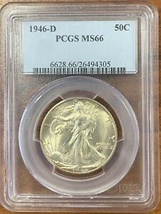 1946 D WALKING LIBERTY HALF DOLLAR PCGS MS66 NICE COIN