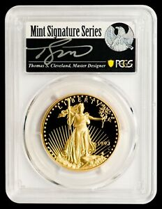 Click now to see the BUY IT NOW Price! 1993 W $50 GOLD EAGLE PCGS PR70DCAM   CLEVELAND AUTOGRAPHED LABEL   POP 2