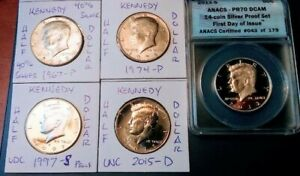 5  '67 '15 PDS KENNEDY HALF  ANACS PR70 DCAM 2012 S SILVER 1ST DAY OF ISSUE