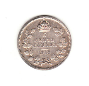 1918 CANADA  5 SILVER CENTS  KING GEORGE V