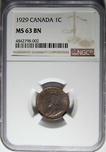 1929 CANADA CENT NGC MS 63 BN 1C