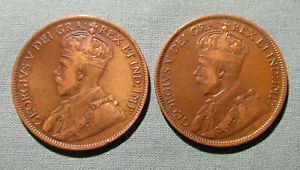 CANADA 1915 AND 1916 LARGE CENT    2  1 PENNY COIN GEORGE V
