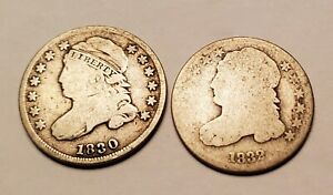 1830 & 1832 SILVER CAPPED BUST DIME COIN LOT
