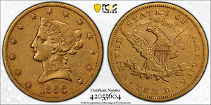 AVC  1866 S MOTTO $10 GOLD LIBERTY EAGLE PCGS VF30   11 500 MINTED