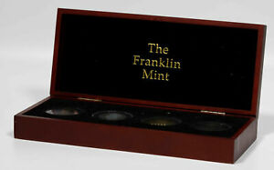 2002 & 2010 FRANKLIN MINT 4 COIN SET KENNEDY HALF DOLLAR COLORIZED & GOLD GILDED