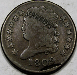 1809 CLASSIC HEAD HALF CENT CHOICE EF   WITH SECOND OFF CENTER STRIKE NEAT
