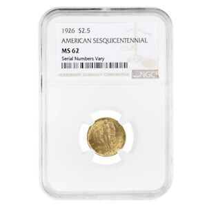 1926 $2.50 AMERICAN SESQUICENTENNIAL GOLD COIN NGC MS 62