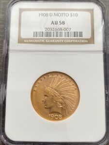 AVC   1908 D MOTTO $10 GOLD INDIAN EAGLE NGC AU58