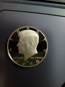 1986 S  CAMEO PROOF KENNEDY HALF DOLLAR  CLAD PROOF DEEP CAMEO  ACTUAL COIN