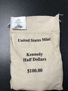 US MINT KENNEDY HALF DOLLAR P & D BAGS OF $100 UNOPENED. 2001