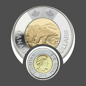 UNC  2013 TOONIE $2 CANADA POLAR BEAR HARDER TO FIND COIN LOWER MINTAGE