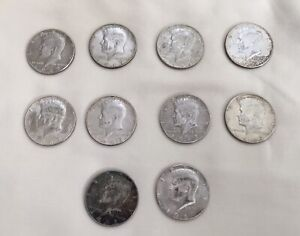 1967 JFK KENNEDY HALF DOLLAR USA FIFTY CENT 40  SILVER CLAD COIN LOT OF 10