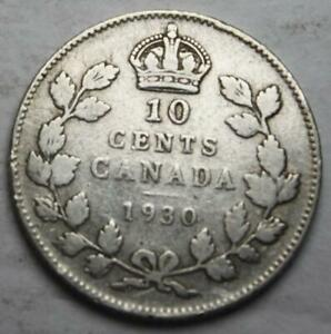 CANADA 1930 SILVER 10 CENTS OLD DATE KGV  2D