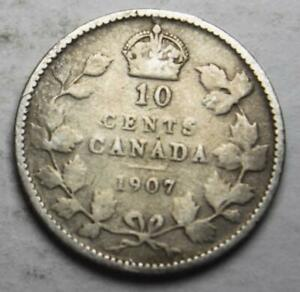 CANADA 1907 SILVER 10 CENTS OLD DATE KING EDWARD VII  20A