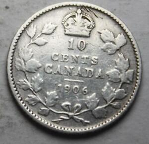 CANADA 1906 SILVER 10 CENTS OLD DATE KING EDWARD VII  21C
