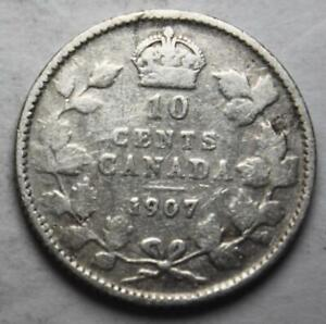 CANADA 1907 SILVER 10 CENTS OLD DATE KING EDWARD VII  22C
