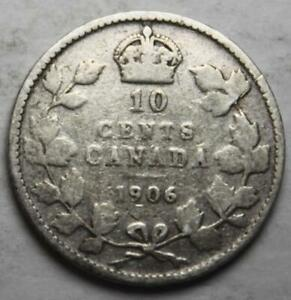 CANADA 1906 SILVER 10 CENTS OLD DATE KING EDWARD VII  25G