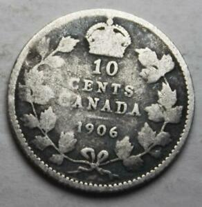 CANADA 1906 SILVER 10 CENTS OLD DATE KING EDWARD VII  26A