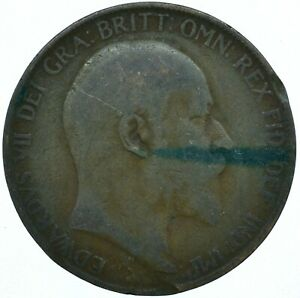 1907 ONE PENNY COIN GB UK  EDWARD VII    WT27900