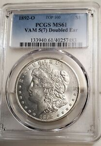 1892O MORGAN SILVER DOLLAR VAM5 [7] DOUBLED EAR PCGS MS61 1 OF 3 IN THE WORLD SO