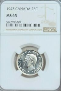 1943 CANADA SILVER 25 CENTS 25C GEORGE VI NGC MS MS 65  GEM BU BEAUTY